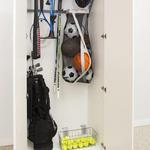 A great way to organize all your sports gear.  Notice the recessed and fully adjustable door hinges.  These are stronger than surface mounted hinges and keeps the look of the exterior clean.