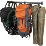 Camping Gear Rack by Monkey Bars. Store your backpacks, tents, sleeping bags and camping chairs off the garage floor. This rack will hold 2 to 3 backpacks and all your gear. $79.99