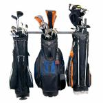 Store your 3 Golf bags on the new Monkey Bar Golf Bag Rack. This rack is perfect for getting those golf bags off the floor and hung up neatly.  $69.99